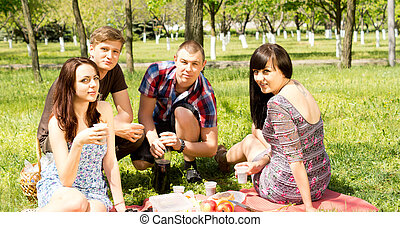 College friends having a picnic in the park