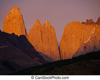 The glow of the Torres - The Cordillera del Paine is a small...