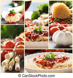 Pasta collage - Collage of pasta dish Spaghetti with tomato...