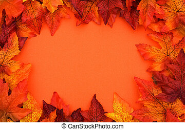 Colourful Fall Background Frame - Fall leaves making frame...