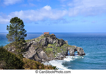 Panoramic view of the hermitage of San Juan de Gaztelugatxe...