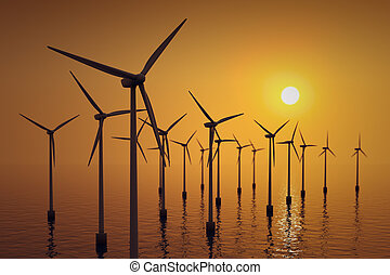 Floating wind turbines at sunset.