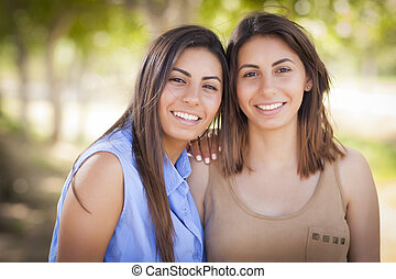 Two Mixed Race Twin Sisters Portrait - Two Beautiful Mixed...