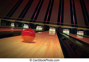 Ten-pin bowling shot - Red bowling ball is rolling on wooden...