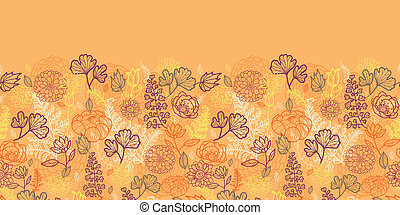 Desert flowers and leaves horizontal seamless pattern border