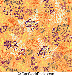Desert flowers and leaves seamless pattern background