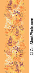 Desert flowers and leaves vertical seamless pattern border