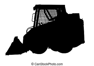 skid loader silhouette - a skid loader silhouette on white...