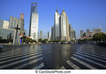 Lujiazui Finance and Trade Zone of modern urban architecture...