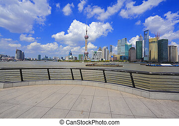 Shanghai landmark skyline at bund city landscape