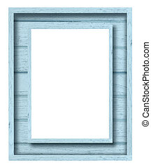 vintage blue wood picture frame on white background