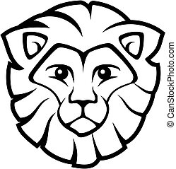 lion face vector - lion head isolated on white background,...