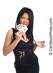 royal flush - asian girl showing a royal flush isolated on...