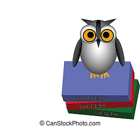 Owl on Stack of Books