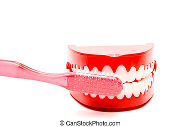 Dental Hygiene - A toothbrush and set of chattering teeth in...