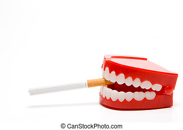 Stop Smoking - A set of chattering tetth smoking a...