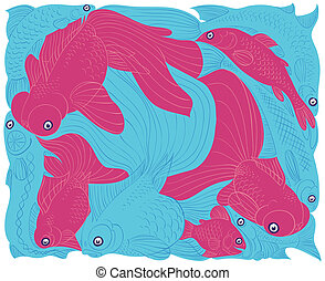Fish graphic etude Red and Blue