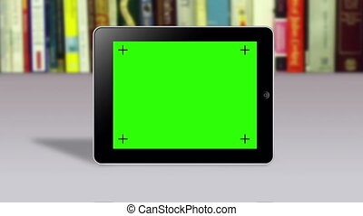 Tablet with green screen slideshow