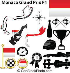 Monaco Grand Prix F1 - Vector set of Monaco Grand Prix...