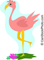 Pink Flamingo stands on one leg enjoying the tropical view.