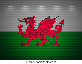Welsh flag wall, abstract background
