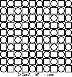 Circle and square alternating seamless background