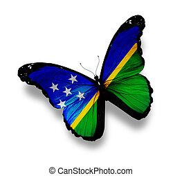 Solomon, îles, drapeau, papillon, isolé, blanc