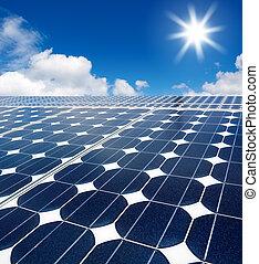 solar cell array against the sun