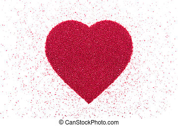 Heart made of red sand. - Heart made of decorative red sand...