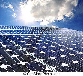 Solar panel on a sunny day blue sky
