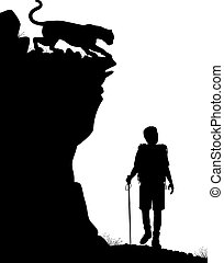 Lone hiker - Editable vector silhouette of a lone hiker...