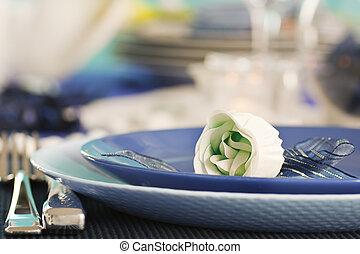 Romantic dinner - Blue table setting for romantic dinner...