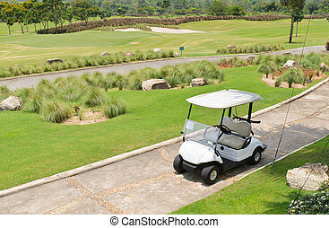 Golf cart on the golf course.