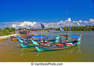 fishing boat at kelantan,malaysia - This fishing port is the...