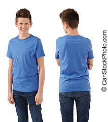 Slim teenager with blank blue shirt
