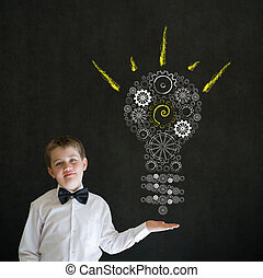 Hand up answer boy dressed as business man with bright idea...