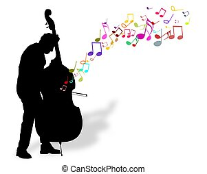 Bass Player - Illustration of a person playing a Bass with...