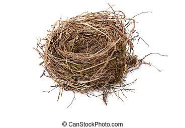 empty birds nest - black birds nest on white background