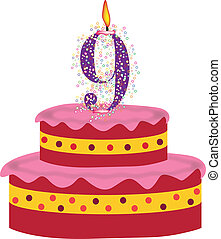 cake of ninth birthday,anniversary - cake with candles of...