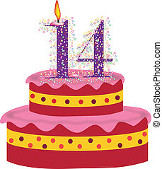 cake of Fourteenth birthday - cake with candles of...
