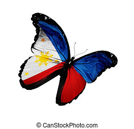 Philippine flag butterfly flying, isolated on white...