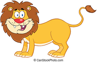 Lion Cartoon Mascot Character - Happy Lion Cartoon Mascot...