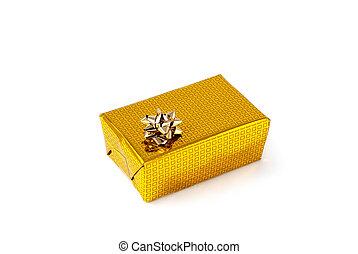caja de regalo con lazo aislado fondo blanco