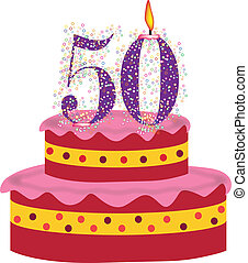cake of fiftieth birthday - cake with candle of fiftieth...