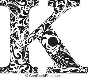 Floral K - Floral initial capital letter K