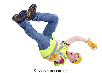 Construction worker falling isolated on white background