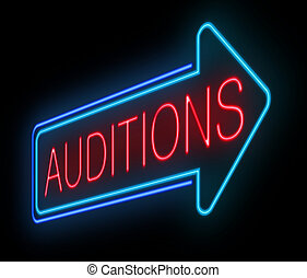 Neon auditions sign. - Illustration depicting an illuminated...