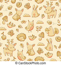 forest animals - seamless pattern with doodles of forest...