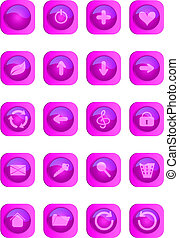 Pink colored glossy web buttons.