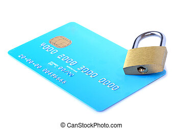 credit card security - credit card and lock isolated on...